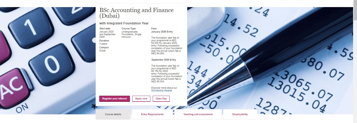 BSc Accounting and Finance (Dubai) with Integrated Foundation Year