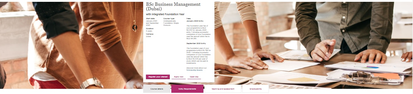 BSc Business Management (Dubai) with Integrated Foundation Year