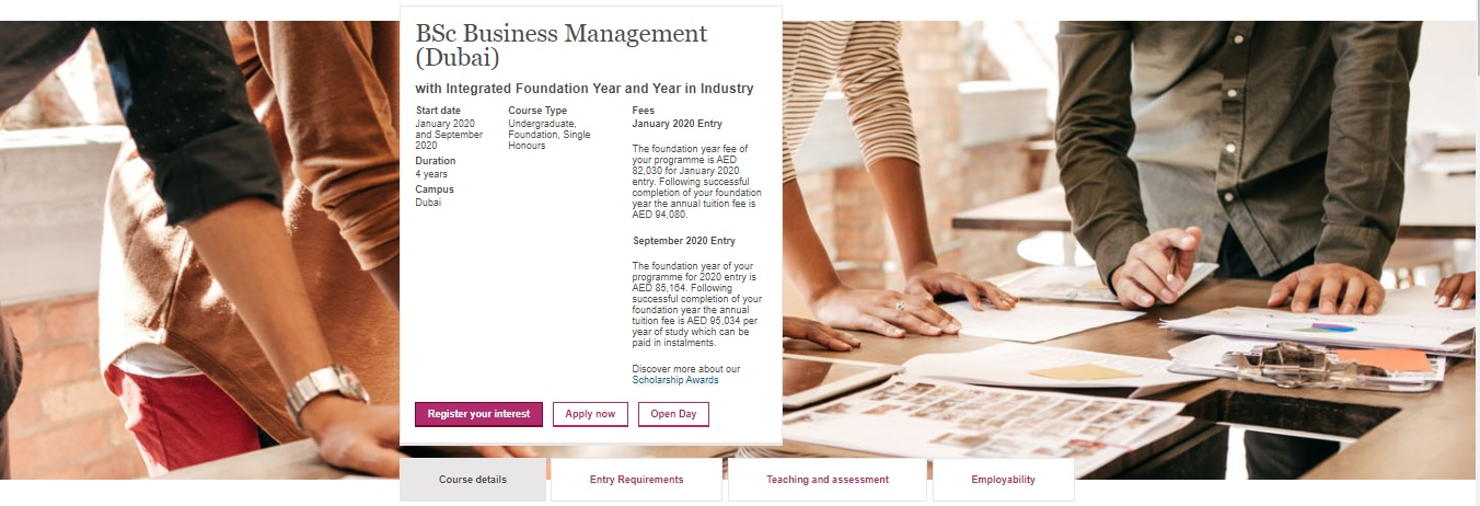 BSc Business Management (Dubai) with Integrated Foundation Year and Year in Industry