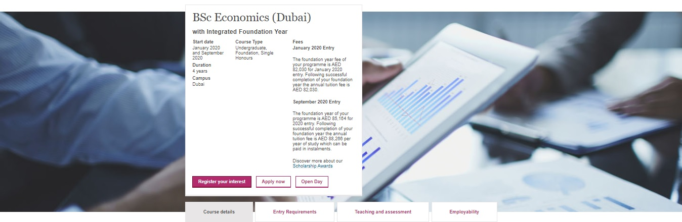 BSc Economics (Dubai) with Integrated Foundation Year
