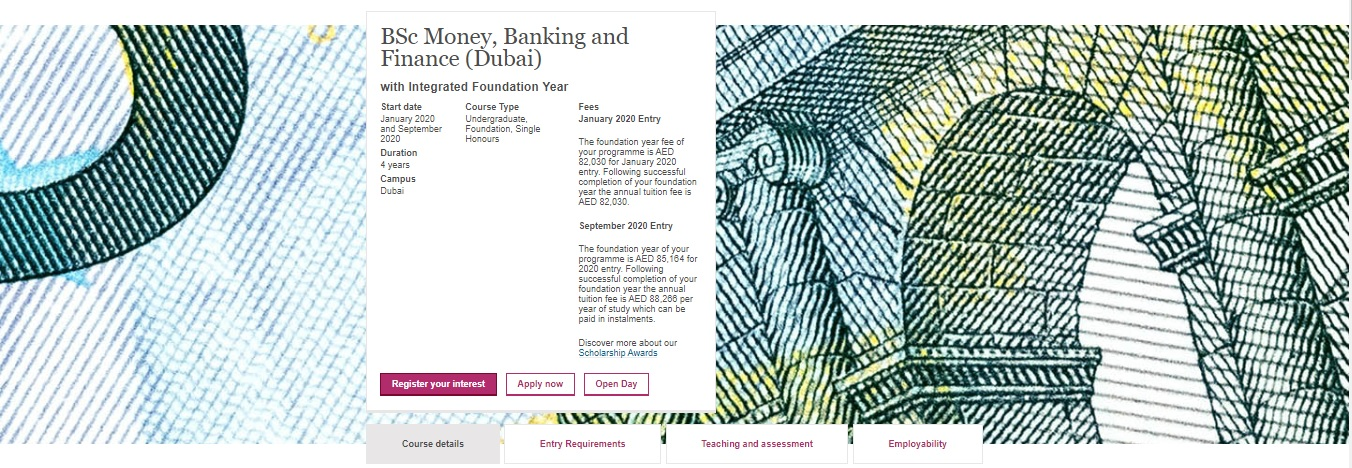 BSc Money, Banking and Finance (Dubai) with Integrated Foundation Year