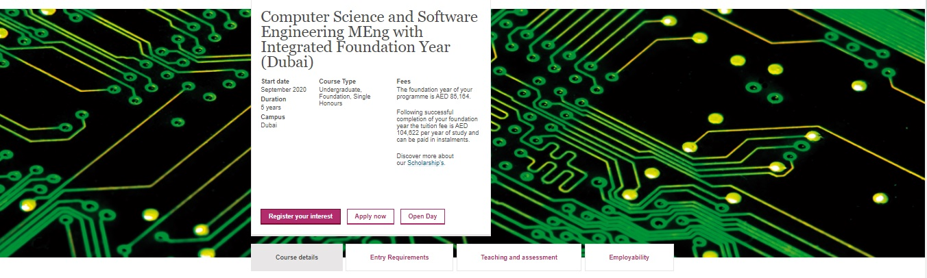 Computer Science and Software Engineering MEng (Dubai) with Integrated Foundation Year (Dubai)