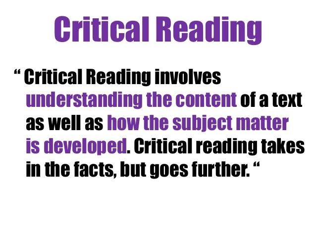 Introduction to Critical Reading: Text and Context
