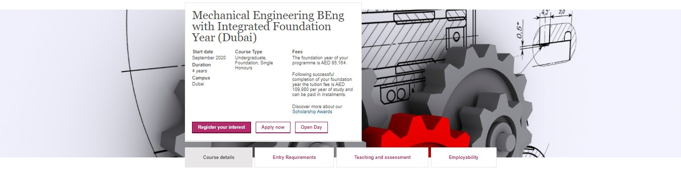 Mechanical Engineering BEng with Integrated Foundation Year (Dubai)