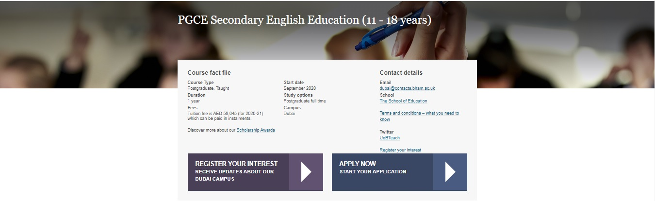 PGCE Secondary English Education (11 – 18 years)