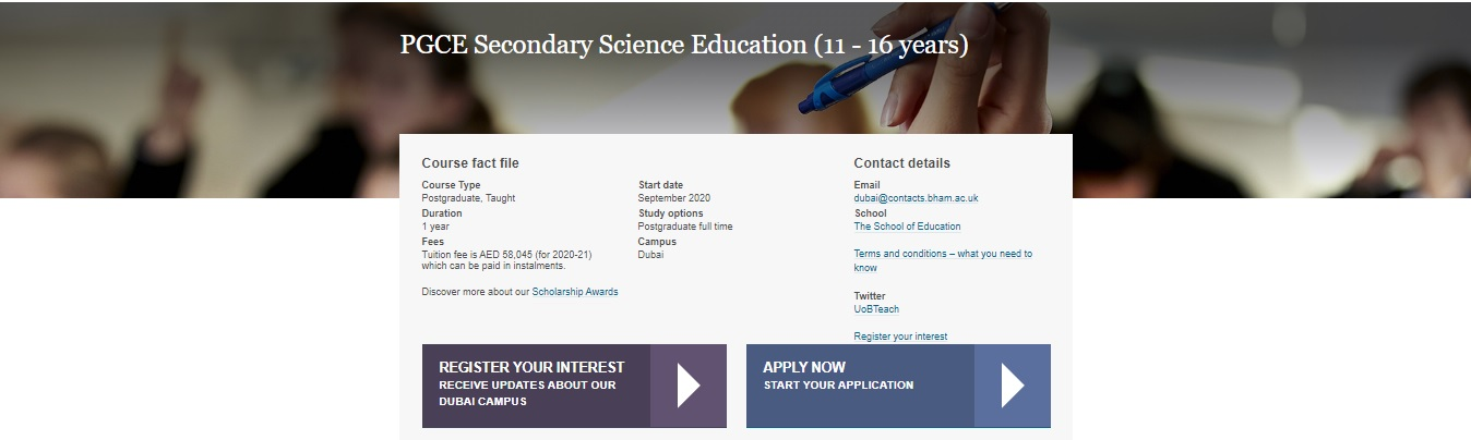 PGCE Secondary Science Education (11 – 16 years)